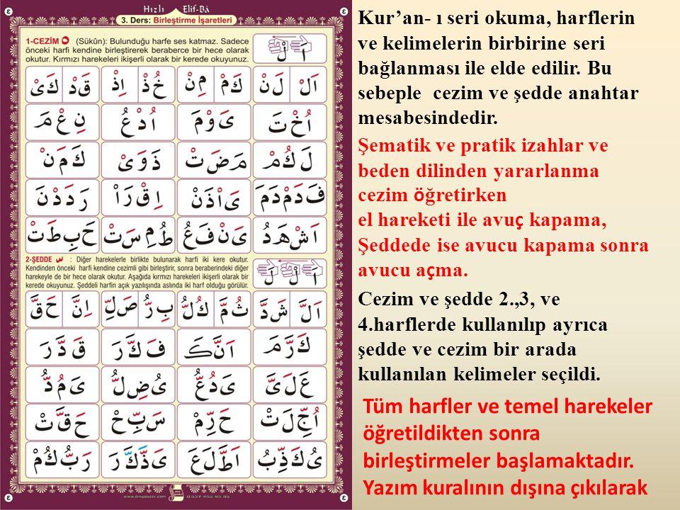 Kur'an- ı seri okuma, harflerin ve kelimelerin birbirine seri bağlanması ile elde edilir. Bu sebeple cezim ve şedde anahtar mesabesindedir.
