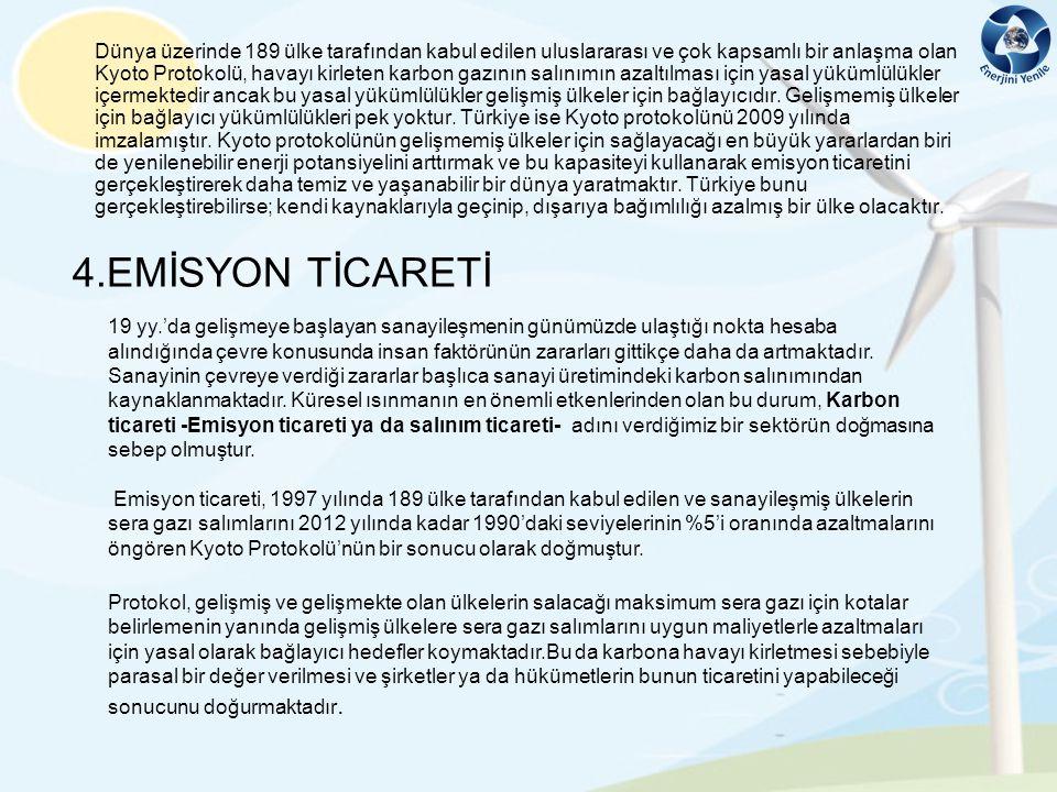 Dünya üzerinde 189 ülke tarafından kabul edilen uluslararası ve çok kapsamlı bir anlaşma olan Kyoto Protokolü, havayı kirleten karbon gazının salınımın azaltılması için yasal yükümlülükler içermektedir ancak bu yasal yükümlülükler gelişmiş ülkeler için bağlayıcıdır. Gelişmemiş ülkeler için bağlayıcı yükümlülükleri pek yoktur. Türkiye ise Kyoto protokolünü 2009 yılında imzalamıştır. Kyoto protokolünün gelişmemiş ülkeler için sağlayacağı en büyük yararlardan biri de yenilenebilir enerji potansiyelini arttırmak ve bu kapasiteyi kullanarak emisyon ticaretini gerçekleştirerek daha temiz ve yaşanabilir bir dünya yaratmaktır. Türkiye bunu gerçekleştirebilirse; kendi kaynaklarıyla geçinip, dışarıya bağımlılığı azalmış bir ülke olacaktır.