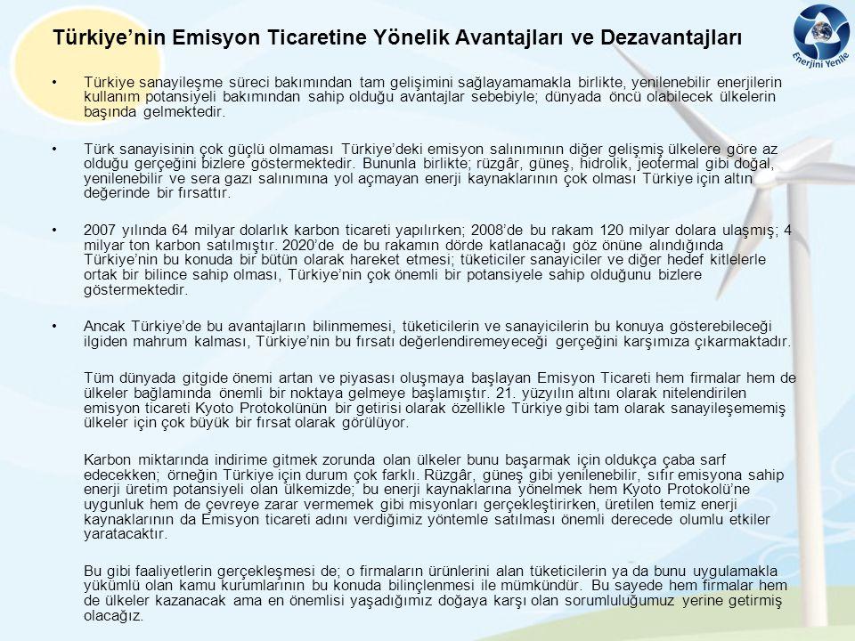 Türkiye'nin Emisyon Ticaretine Yönelik Avantajları ve Dezavantajları
