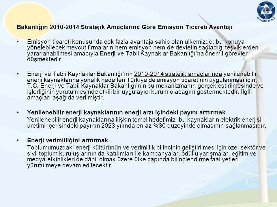 Bakanlığın 2010-2014 Stratejik Amaçlarına Göre Emisyon Ticareti Avantajı