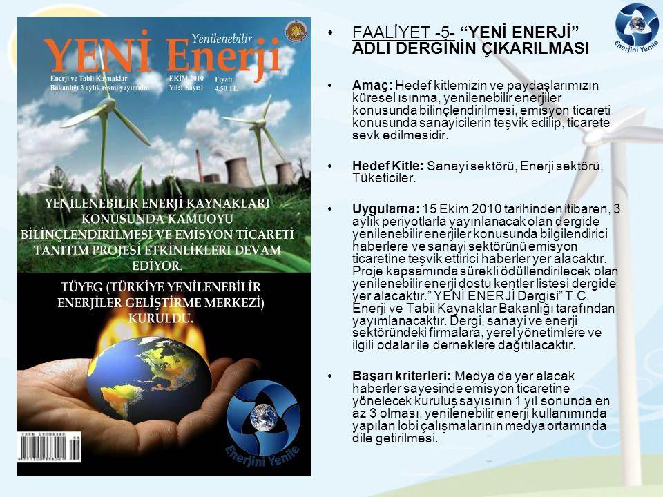 FAALİYET -5- YENİ ENERJİ ADLI DERGİNİN ÇIKARILMASI