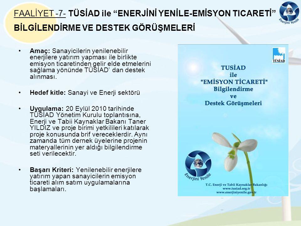 FAALİYET -7- TÜSİAD ile ENERJİNİ YENİLE-EMİSYON TICARETİ BİLGİLENDİRME VE DESTEK GÖRÜŞMELERİ