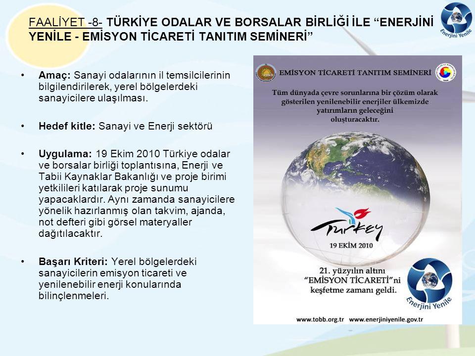FAALİYET -8- TÜRKİYE ODALAR VE BORSALAR BİRLİĞİ İLE ENERJİNİ YENİLE - EMİSYON TİCARETİ TANITIM SEMİNERİ