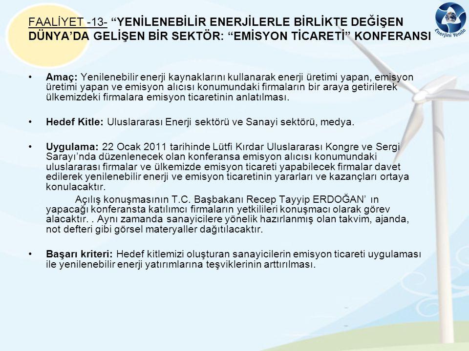 FAALİYET -13- YENİLENEBİLİR ENERJİLERLE BİRLİKTE DEĞİŞEN DÜNYA'DA GELİŞEN BİR SEKTÖR: EMİSYON TİCARETİ KONFERANSI