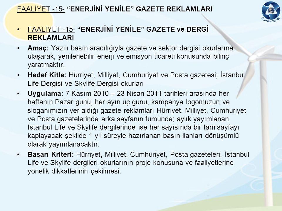 FAALİYET -15- ENERJİNİ YENİLE GAZETE REKLAMLARI
