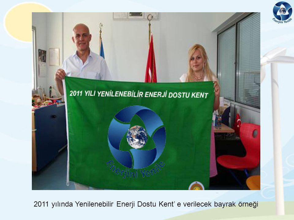 2011 yılında Yenilenebilir Enerji Dostu Kent' e verilecek bayrak örneği