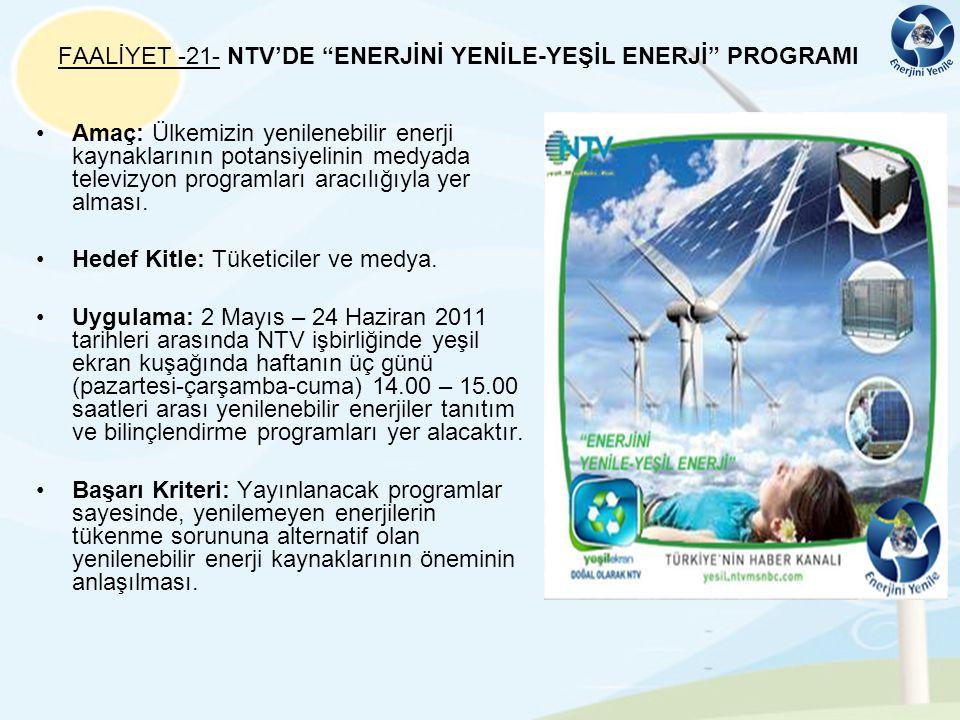 FAALİYET -21- NTV'DE ENERJİNİ YENİLE-YEŞİL ENERJİ PROGRAMI
