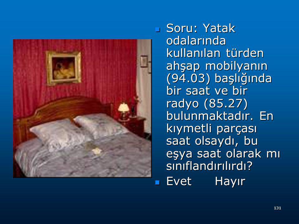 Soru: Yatak odalarında kullanılan türden ahşap mobilyanın (94