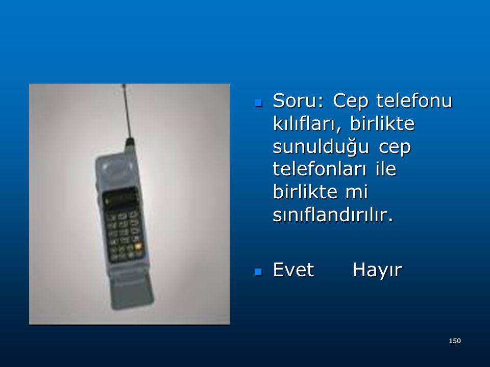 Soru: Cep telefonu kılıfları, birlikte sunulduğu cep telefonları ile birlikte mi sınıflandırılır.