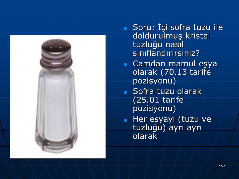 Soru: İçi sofra tuzu ile doldurulmuş kristal tuzluğu nasıl sınıflandırırsınız