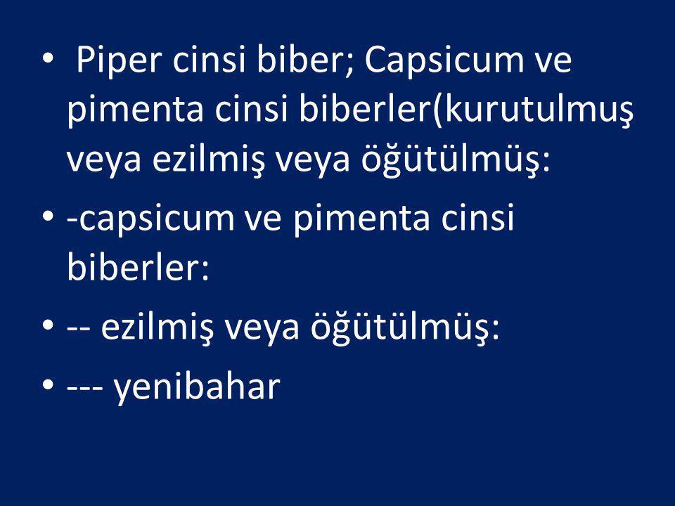Piper cinsi biber; Capsicum ve pimenta cinsi biberler(kurutulmuş veya ezilmiş veya öğütülmüş: