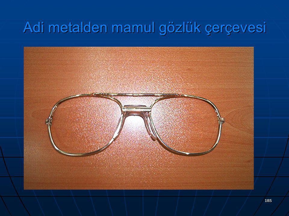 Adi metalden mamul gözlük çerçevesi