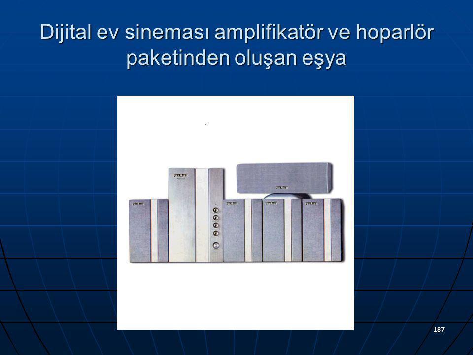 Dijital ev sineması amplifikatör ve hoparlör paketinden oluşan eşya