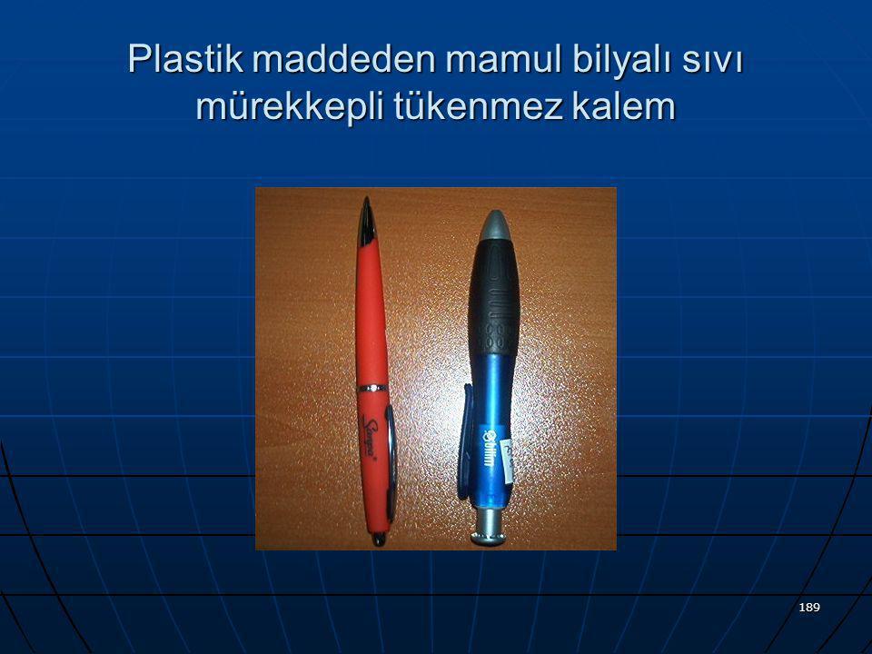 Plastik maddeden mamul bilyalı sıvı mürekkepli tükenmez kalem