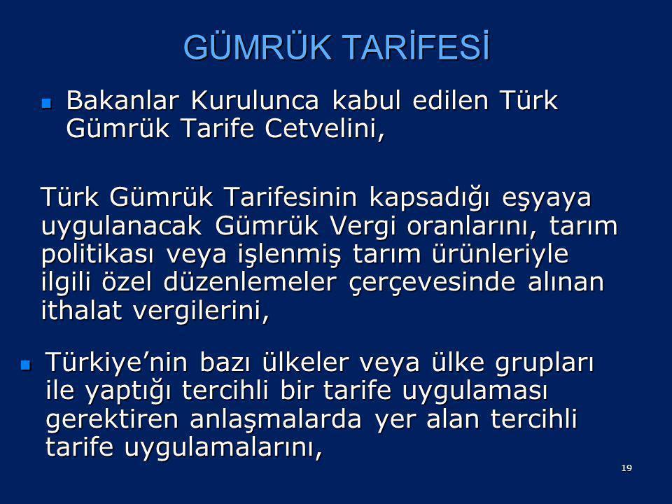 GÜMRÜK TARİFESİ Bakanlar Kurulunca kabul edilen Türk Gümrük Tarife Cetvelini,