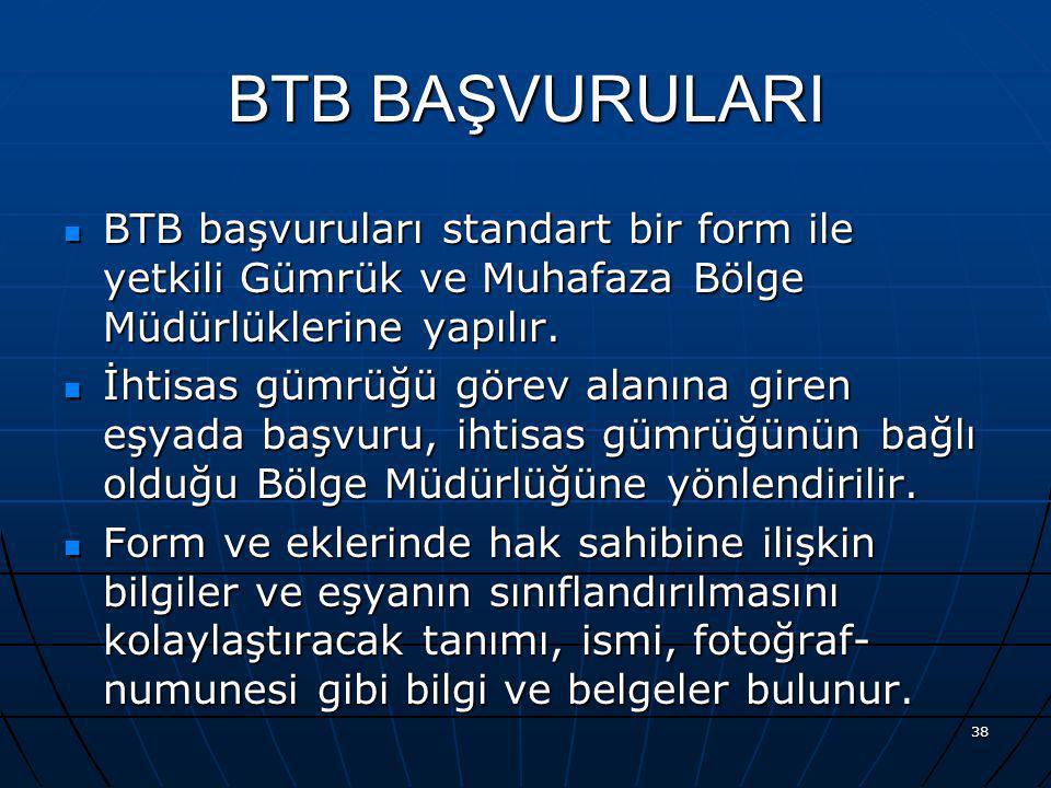 BTB BAŞVURULARI BTB başvuruları standart bir form ile yetkili Gümrük ve Muhafaza Bölge Müdürlüklerine yapılır.