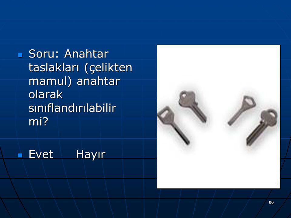Soru: Anahtar taslakları (çelikten mamul) anahtar olarak sınıflandırılabilir mi