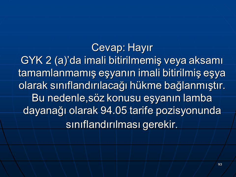 Cevap: Hayır GYK 2 (a)'da imali bitirilmemiş veya aksamı tamamlanmamış eşyanın imali bitirilmiş eşya olarak sınıflandırılacağı hükme bağlanmıştır.