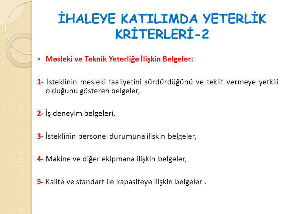 İHALEYE KATILIMDA YETERLİK KRİTERLERİ-2