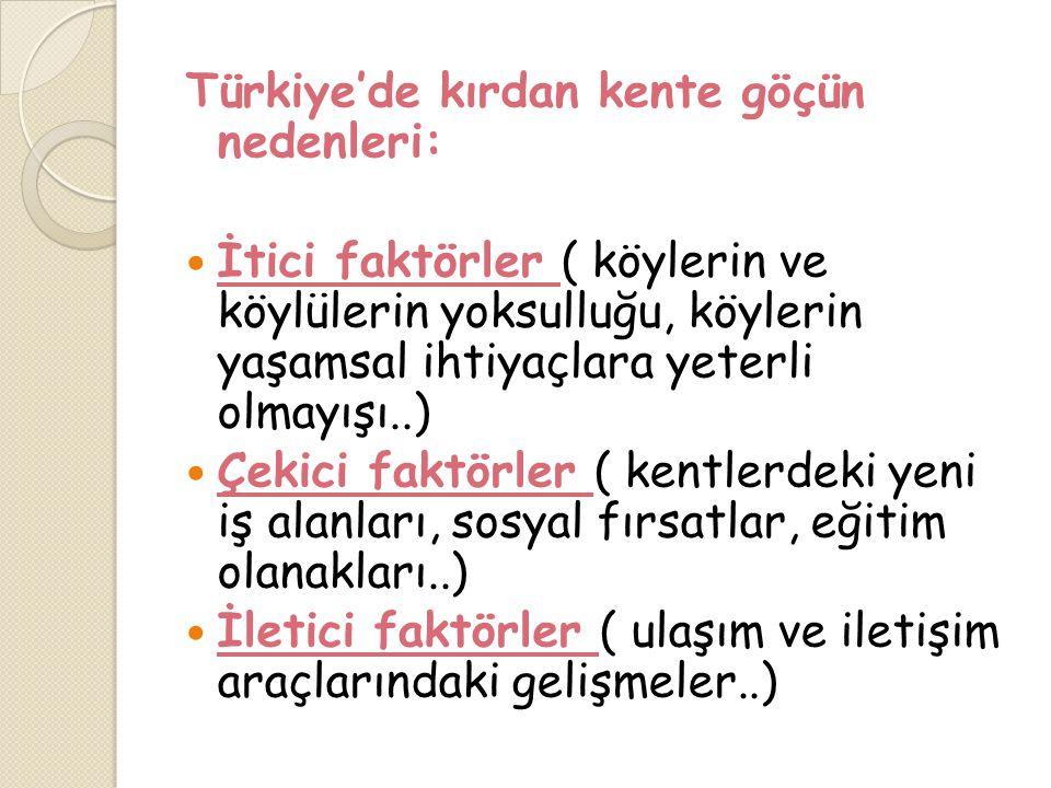 Türkiye'de kırdan kente göçün nedenleri:
