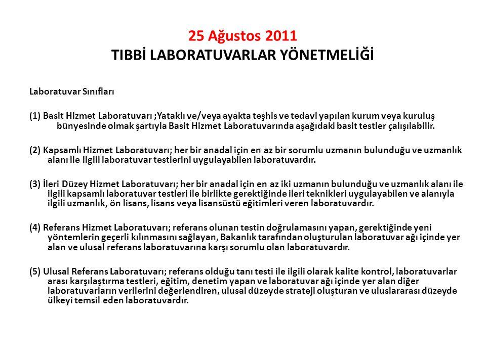 25 Ağustos 2011 TIBBİ LABORATUVARLAR YÖNETMELİĞİ