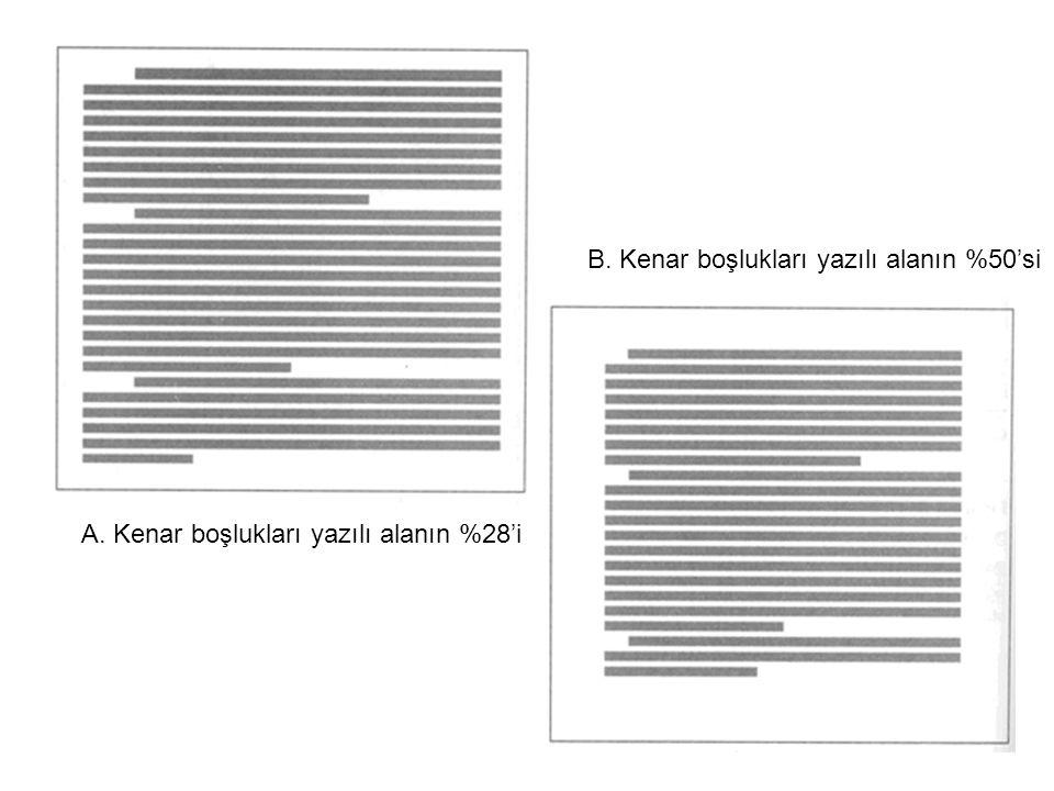 B. Kenar boşlukları yazılı alanın %50'si
