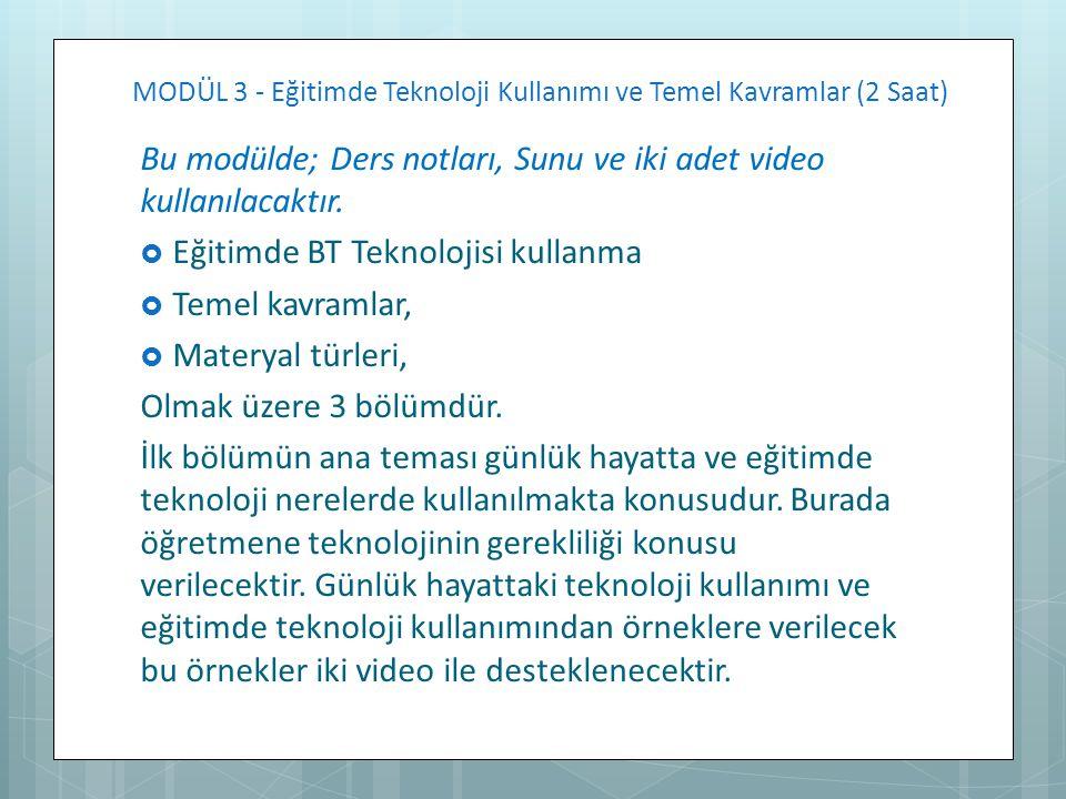MODÜL 3 - Eğitimde Teknoloji Kullanımı ve Temel Kavramlar (2 Saat)