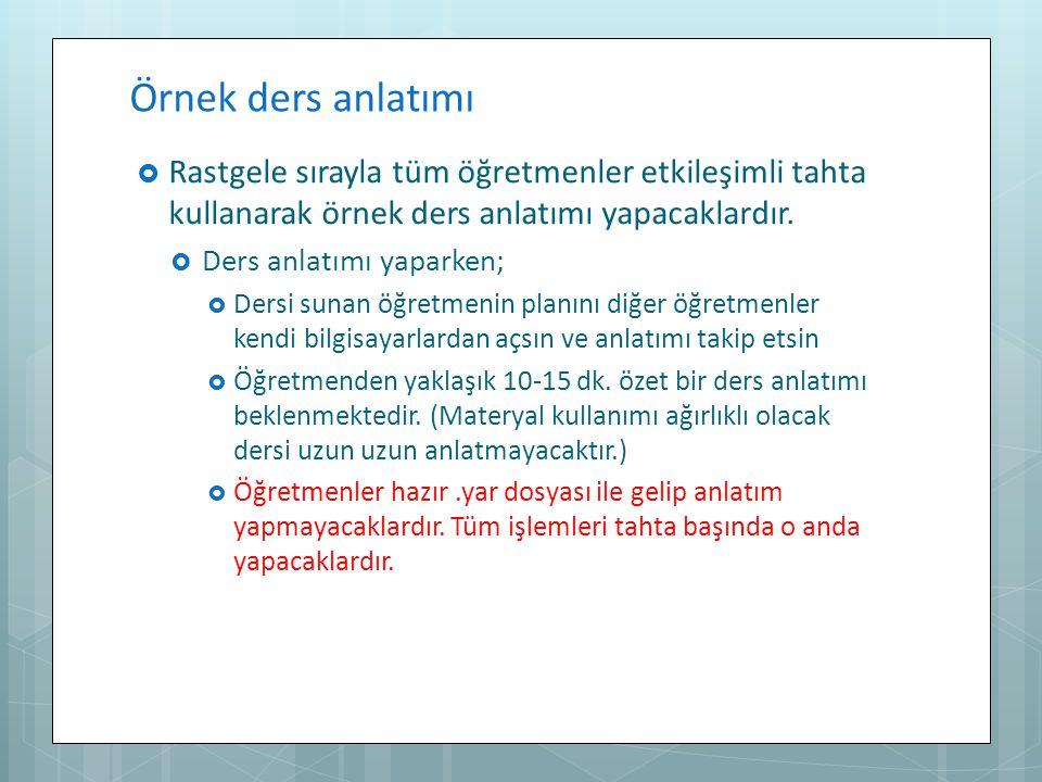 Örnek ders anlatımı Rastgele sırayla tüm öğretmenler etkileşimli tahta kullanarak örnek ders anlatımı yapacaklardır.