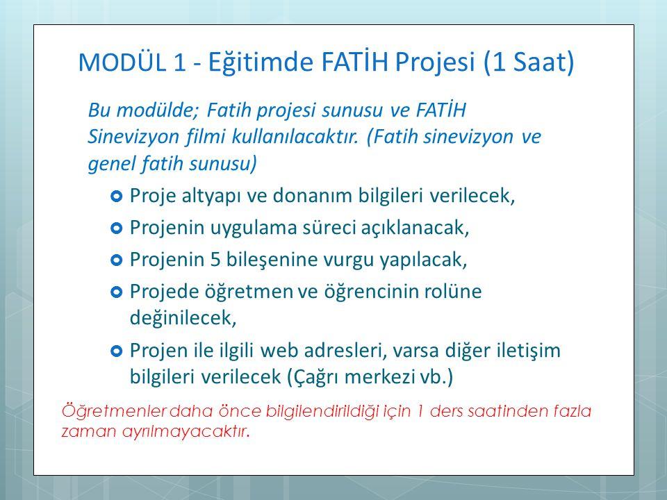 MODÜL 1 - Eğitimde FATİH Projesi (1 Saat)