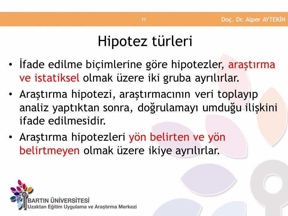 Doç. Dr. Alper AYTEKİN Hipotez türleri. İfade edilme biçimlerine göre hipotezler, araştırma ve istatiksel olmak üzere iki gruba ayrılırlar.
