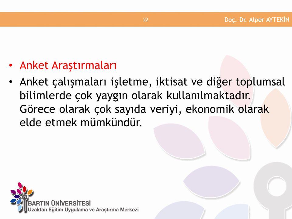 Doç. Dr. Alper AYTEKİN Anket Araştırmaları.