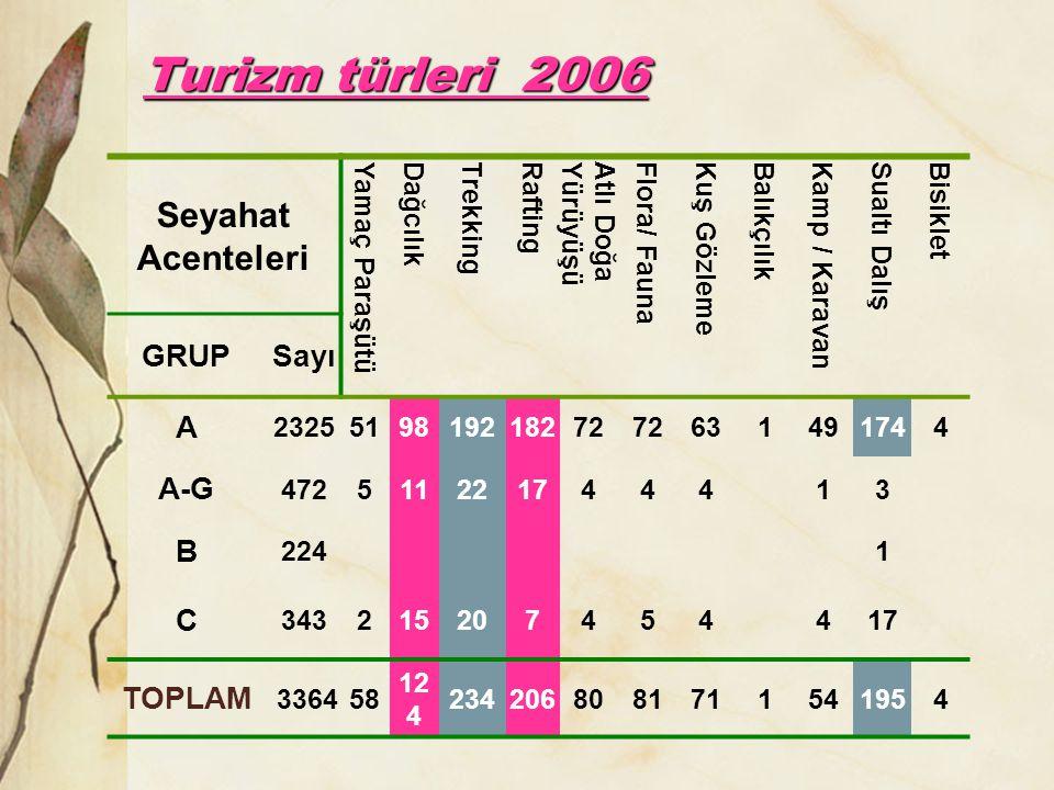 Turizm türleri 2006 Seyahat Acenteleri GRUP Sayı A A-G B C TOPLAM
