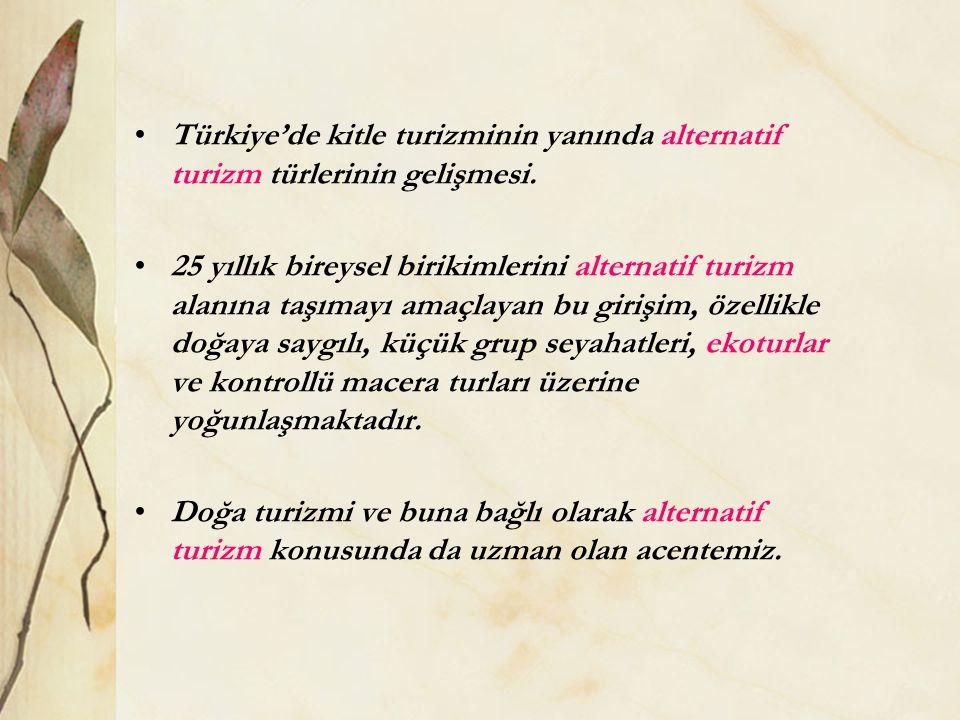 Türkiye'de kitle turizminin yanında alternatif turizm türlerinin gelişmesi.