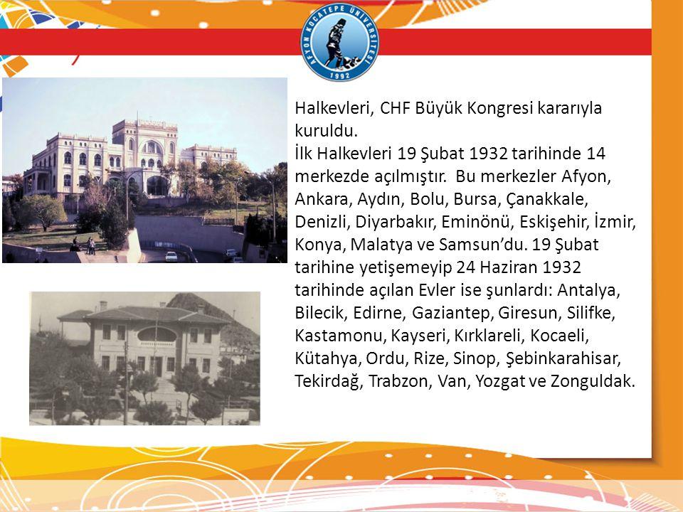 Halkevleri, CHF Büyük Kongresi kararıyla kuruldu.