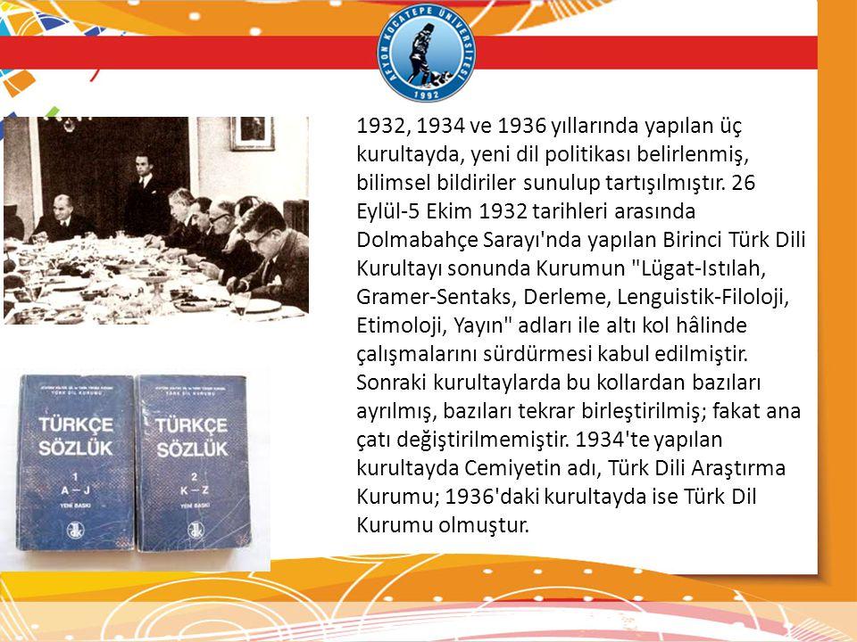 1932, 1934 ve 1936 yıllarında yapılan üç kurultayda, yeni dil politikası belirlenmiş, bilimsel bildiriler sunulup tartışılmıştır.