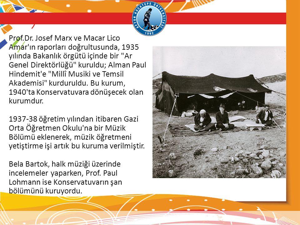 Prof.Dr. Josef Marx ve Macar Lico Amar ın raporları doğrultusunda, 1935 yılında Bakanlık örgütü içinde bir Ar Genel Direktörlüğü kuruldu; Alman Paul Hindemit e Millî Musiki ve Temsil Akademisi kurduruldu. Bu kurum, 1940 ta Konservatuvara dönüşecek olan kurumdur.