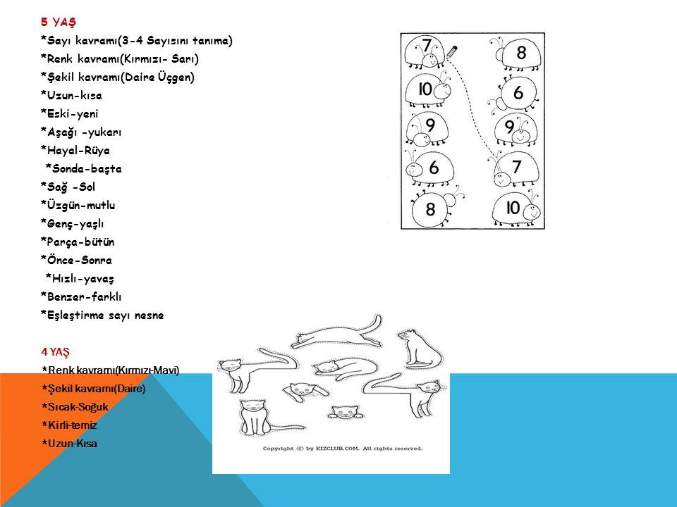 5 YAŞ. Sayı kavramı(3-4 Sayısını tanıma). Renk kavramı(Kırmızı- Sarı)