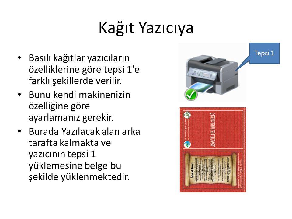 Kağıt Yazıcıya Tepsi 1. Basılı kağıtlar yazıcıların özelliklerine göre tepsi 1'e farklı şekillerde verilir.
