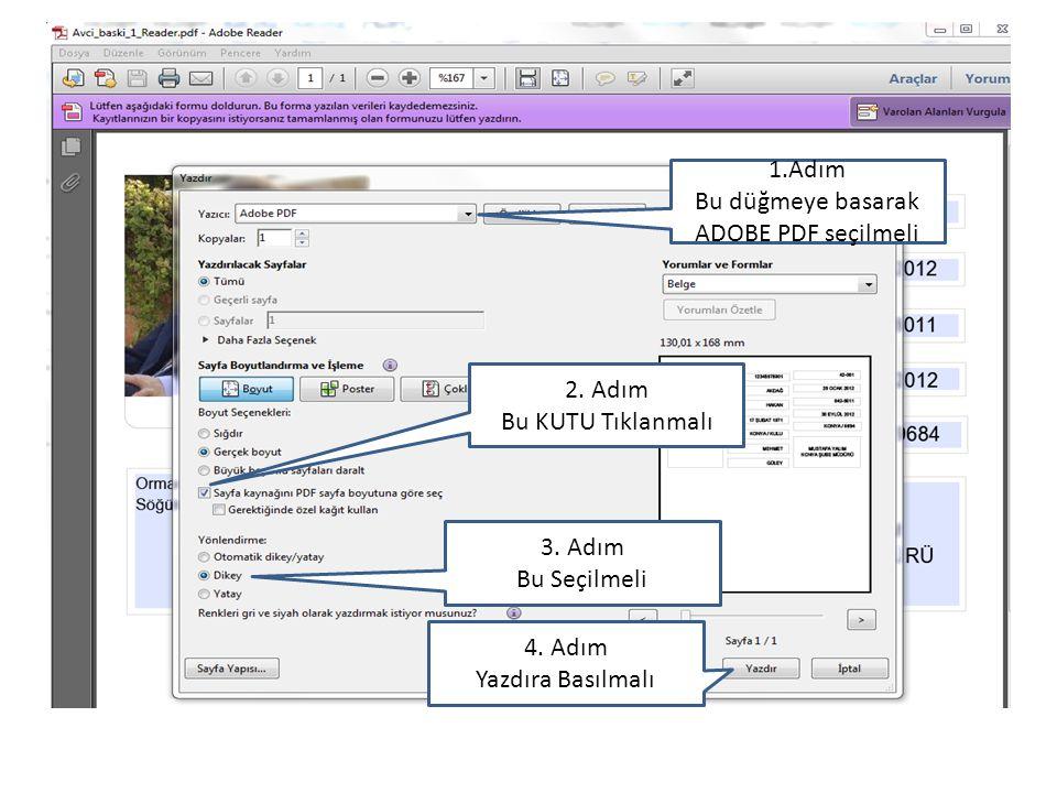 Bu düğmeye basarak ADOBE PDF seçilmeli