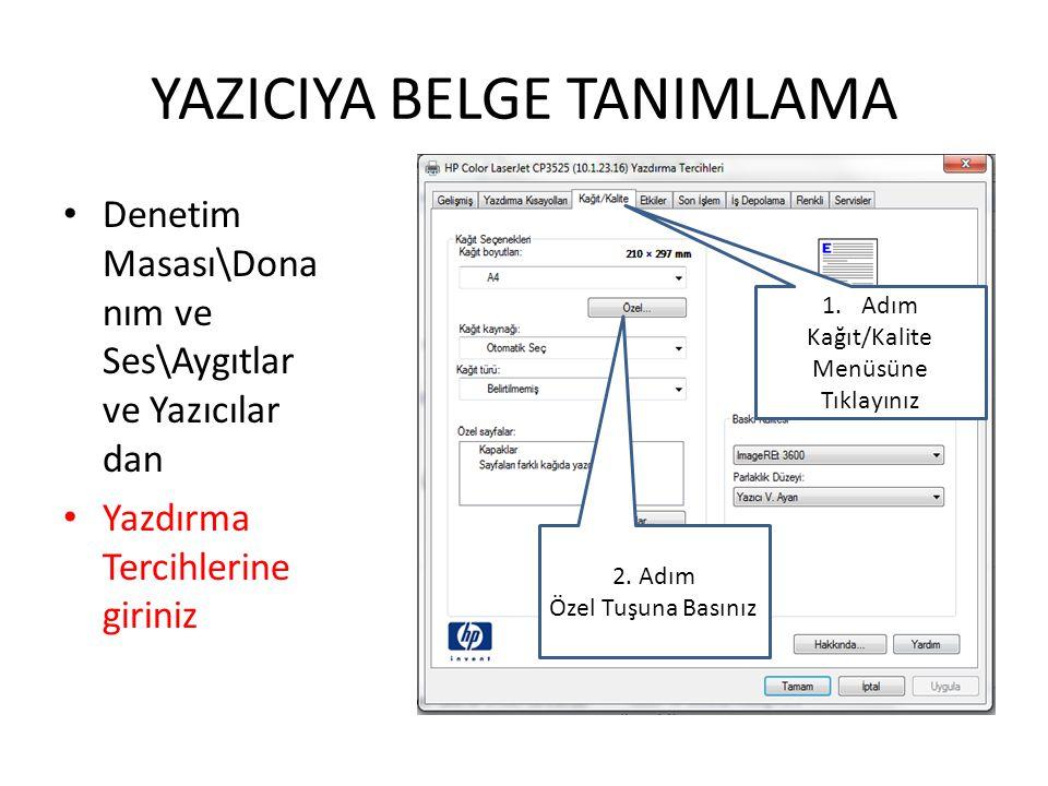 YAZICIYA BELGE TANIMLAMA