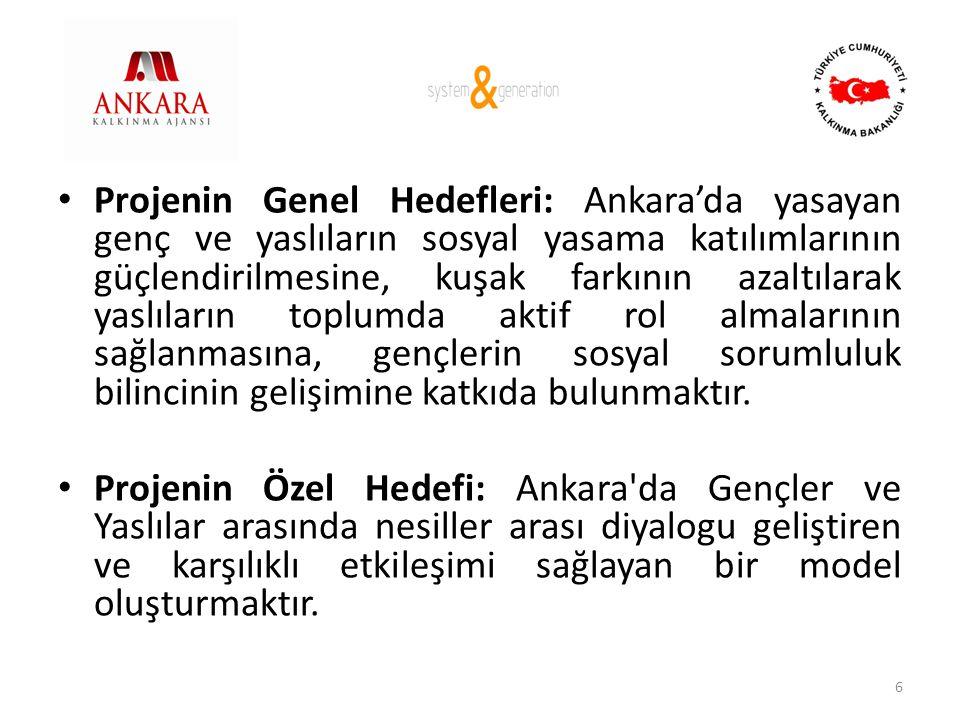 Projenin Genel Hedefleri: Ankara'da yasayan genç ve yaslıların sosyal yasama katılımlarının güçlendirilmesine, kuşak farkının azaltılarak yaslıların toplumda aktif rol almalarının sağlanmasına, gençlerin sosyal sorumluluk bilincinin gelişimine katkıda bulunmaktır.