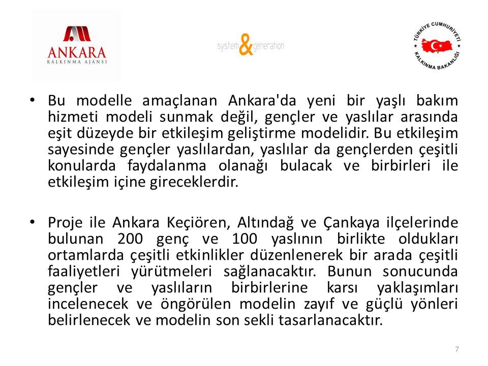Bu modelle amaçlanan Ankara da yeni bir yaşlı bakım hizmeti modeli sunmak değil, gençler ve yaslılar arasında eşit düzeyde bir etkileşim geliştirme modelidir. Bu etkileşim sayesinde gençler yaslılardan, yaslılar da gençlerden çeşitli konularda faydalanma olanağı bulacak ve birbirleri ile etkileşim içine gireceklerdir.