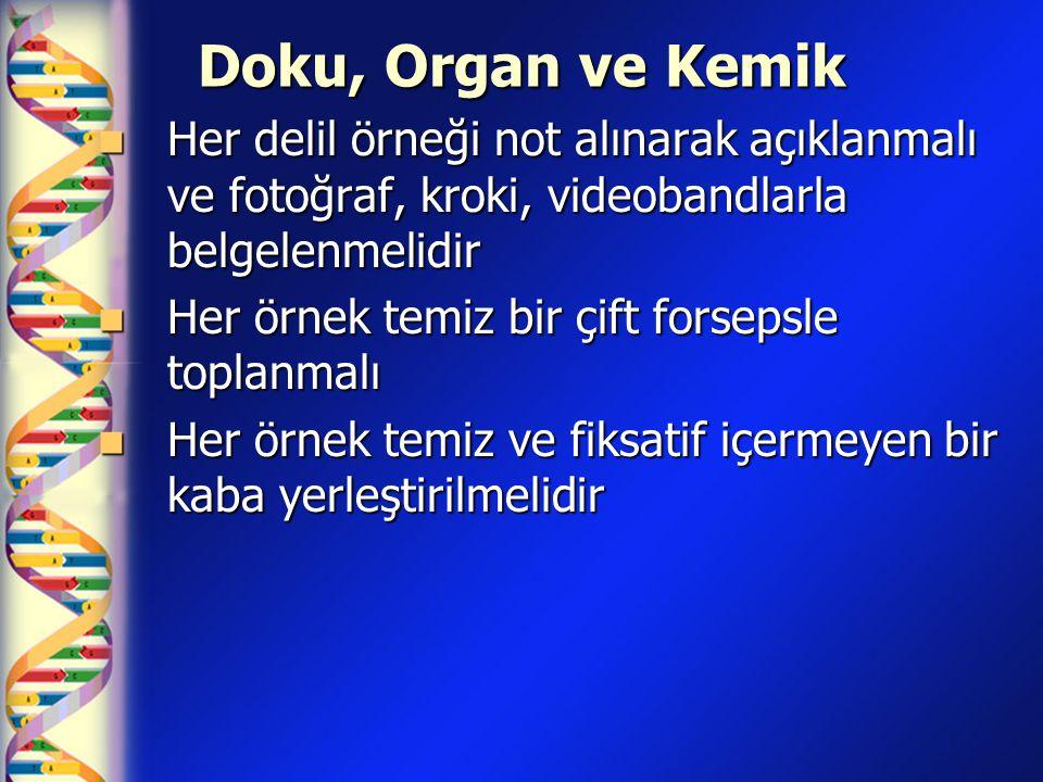 Doku, Organ ve Kemik Her delil örneği not alınarak açıklanmalı ve fotoğraf, kroki, videobandlarla belgelenmelidir.