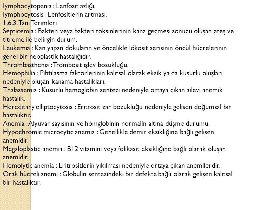 Iymphocytopenia : Lenfosit azlığı.