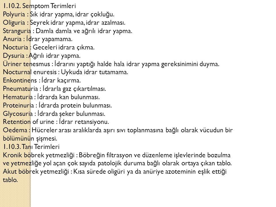 1.10.2. Semptom Terimleri Polyuria : Sık idrar yapma, idrar çokluğu. Oliguria : Seyrek idrar yapma, idrar azalması.