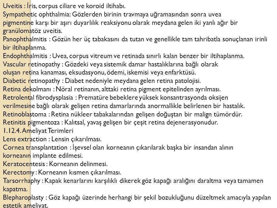 Uveitis : İris, corpus ciliare ve koroid iltihabı.