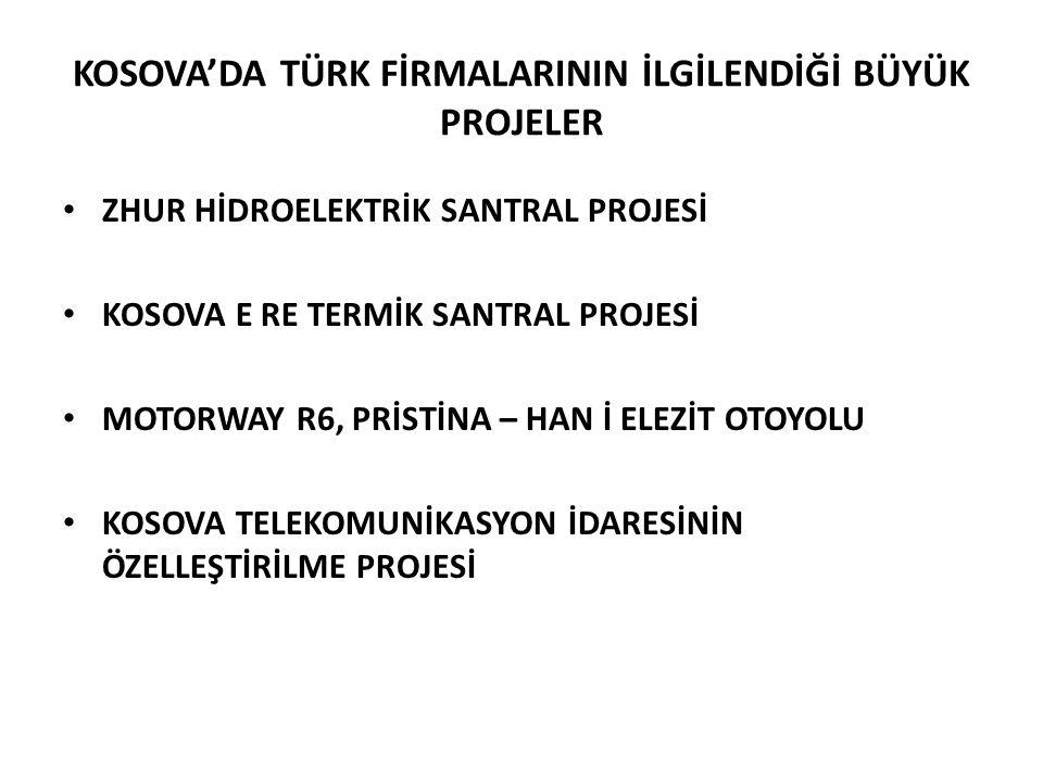 KOSOVA'DA TÜRK FİRMALARININ İLGİLENDİĞİ BÜYÜK PROJELER