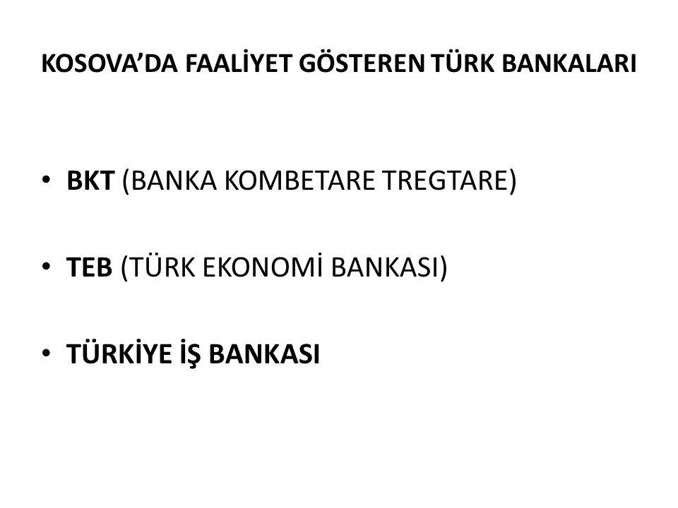 KOSOVA'DA FAALİYET GÖSTEREN TÜRK BANKALARI