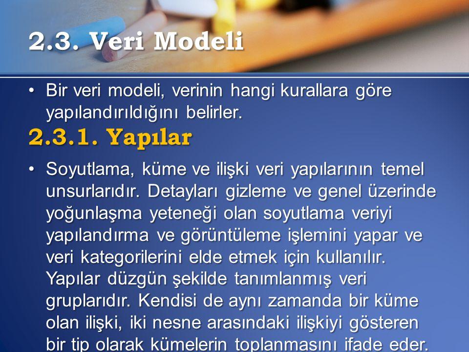 2.3. Veri Modeli Bir veri modeli, verinin hangi kurallara göre yapılandırıldığını belirler. 2.3.1. Yapılar.