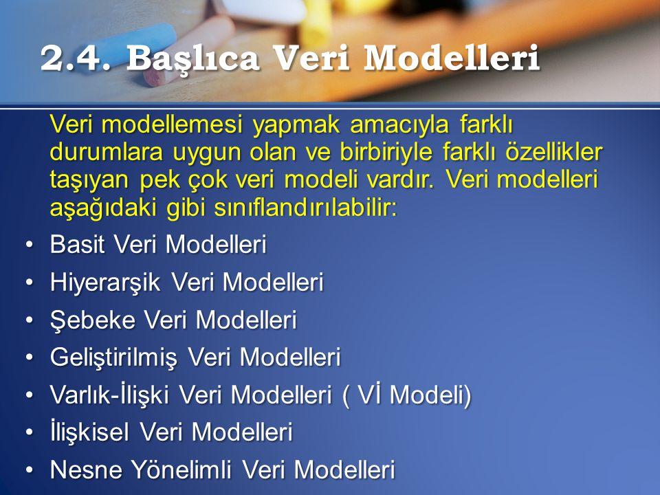 2.4. Başlıca Veri Modelleri